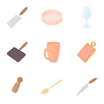 Gebruiksvoorwerpen voor het eten van set, cartoon-stijl