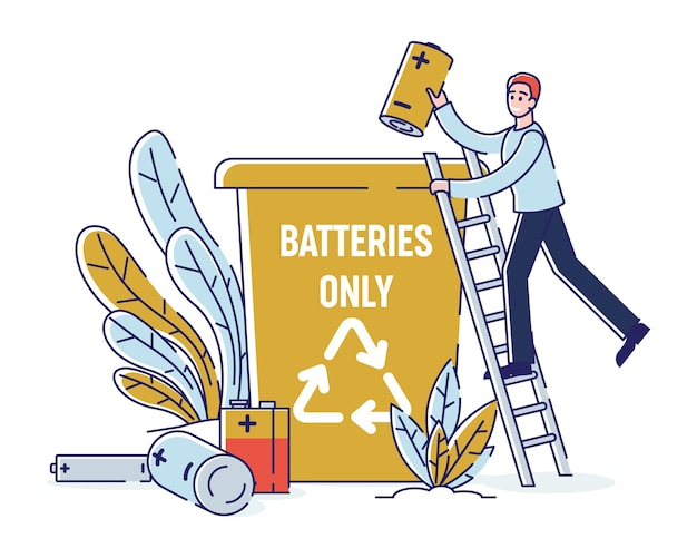 Gebruikte batterijen recycling, schoonmaken milieuconcept.