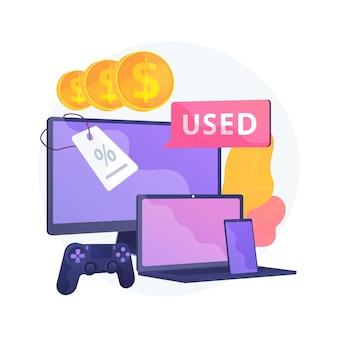 Gebruikte elektronica handel abstracte concept illustratie