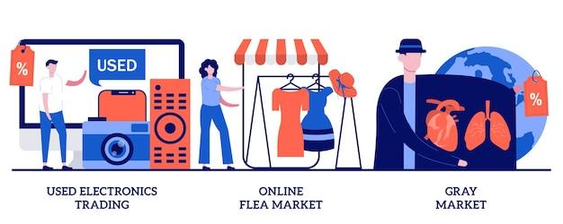 Gebruikte elektronicahandel, online vlooienmarkt, grijs marktconcept met kleine mensen. goedkope smartphone kopen, laptop deals, computer lage prijzen koopje abstracte vector illustratie set.