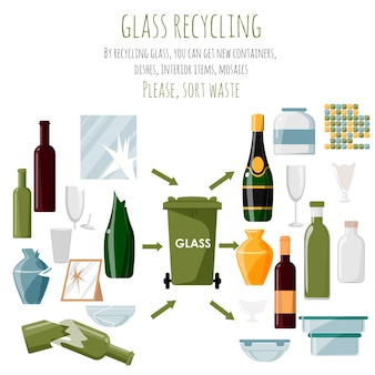 Gebruikte plastic items en items gemaakt van gerecycled glas. nieuw leven voor glas. voorbeelden van gebruikte glasproducten. illustratie. items op witte achtergrond