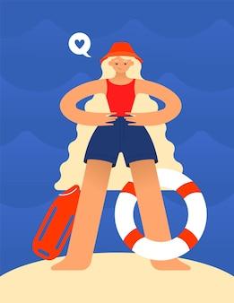Gebruind blond meisje in een panamahoed en een zwembroek werkt als badmeester