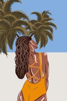 Gebruinde brunette in oranje zwembroek op tropisch strand uitzicht vanaf de achterkant