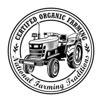 Gecertificeerde biologische landbouw stempel vectorillustratie. landbouwer tractor, cirkelvormig frame, tekst van nationale tradities. landbouw- of agronomieconcept voor emblemen, postzegels, etikettenmalplaatjes