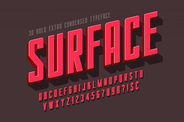 Gecondenseerde 3d-weergave lettertype ontwerp, alfabet, letters