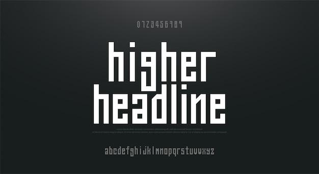 Gecondenseerde hoge, lange eenvoudige lettertype alfabet lettertype
