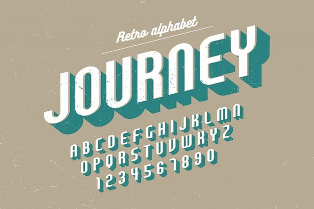 Gecondenseerde retro lettertype met alfabet, tekenset