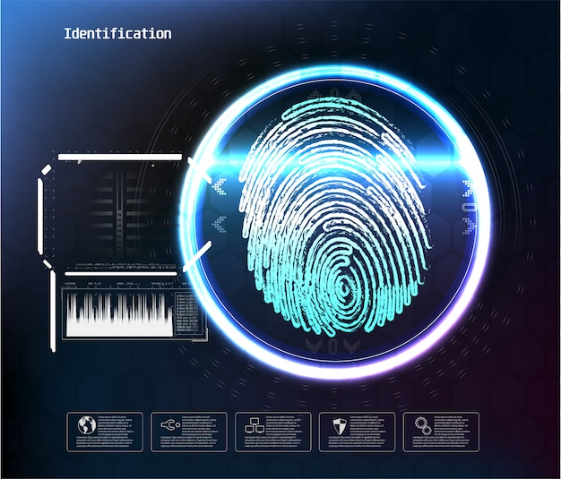 Geconfronteerd met digitale herkenning, id wordt geconfronteerd met biometrisch scannen voor een veilige toegang abstract futuristisch. scan gezicht digitaal, herkenning verificatie en identificatie illustratie