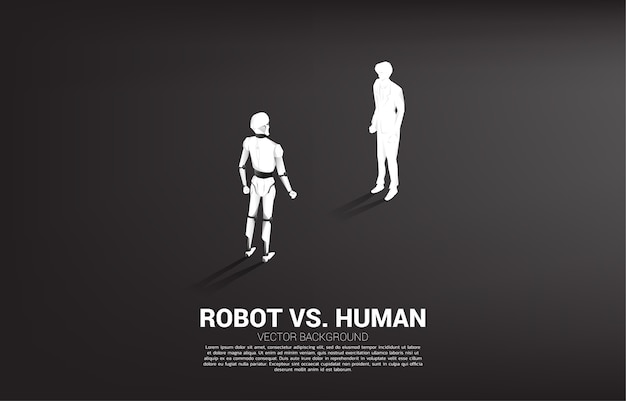 Geconfronteerd met mens en robot. bedrijfsconcept voor machine learning en kunstmatige intelligentie. mens versus robot.
