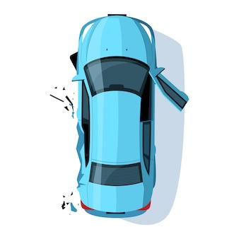 Gecrashte auto side semi rgb-kleurenillustratie