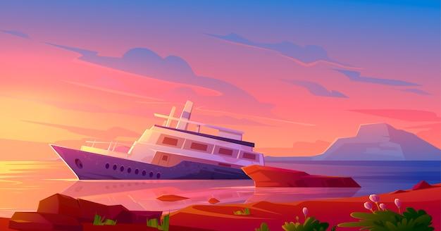 Gedaald cruiseschip in oceaanhaven bij zonsondergang