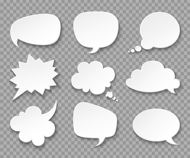Gedachte ballonnen. papier witte spraakwolken. denken bubbels retro 3d-set