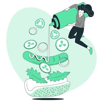 Gedeconstrueerde illustratie van het voedselconcept