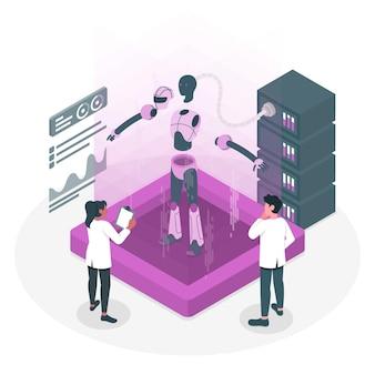 Gedeconstrueerde robot concept illustratie