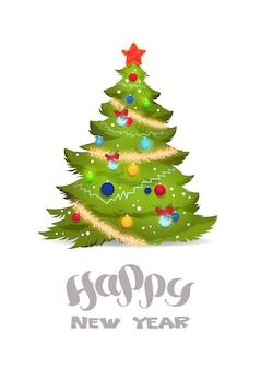 Gedecoreerde kerstboom geïsoleerd op witte achtergrond gelukkig nieuwjaar belettering wenskaart voor de vakantie