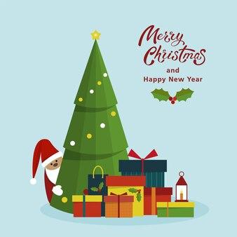 Gedecoreerde kerstboom met geschenkdozen en kerstman..