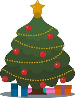Gedecoreerde kerstboom met geschenkdozen sterlichten decoratieballen en lampen