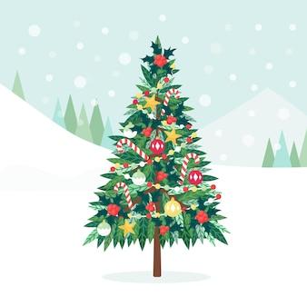 Gedecoreerde kerstboom met kerststerren, lichtjes, decoratieballen en snoepjes, gloeiende slinger. vrolijk kerstfeest en een gelukkig nieuwjaar. vakantie concept