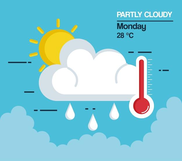 Gedeeltelijk bewolkt ontwerp van de het pictogram vectorillustratie van het weer