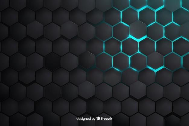 Gedeeltelijk verlichte honingraatachtergrond
