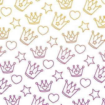 Gedegradeerde lijn metalen kroon met hart en ster achtergrond