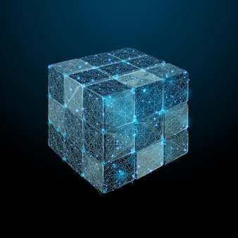 Gedemonteerde ruby kubus laag poly blauw vector teambuilding illustratie