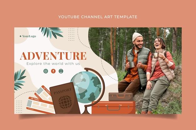 Gedetailleerd avontuur youtube-kanaalkunstsjabloon
