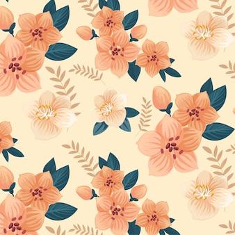 Gedetailleerd bloemenpatroon in perzikkleurige tinten
