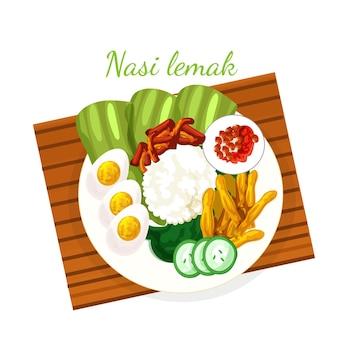 Gedetailleerd geïllustreerd nasi-lemakvoedsel