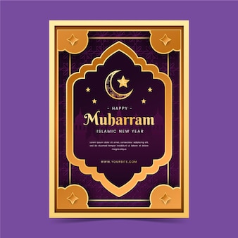 Gedetailleerd islamitisch nieuwjaar verticale postersjabloon