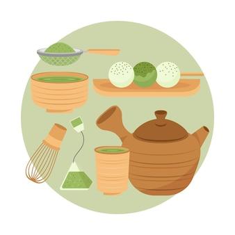 Gedetailleerd japans theeservies in plat ontwerp