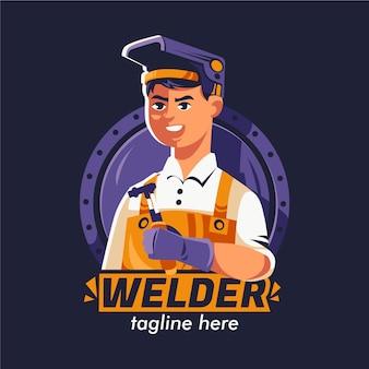 Gedetailleerd lasser logo sjabloon