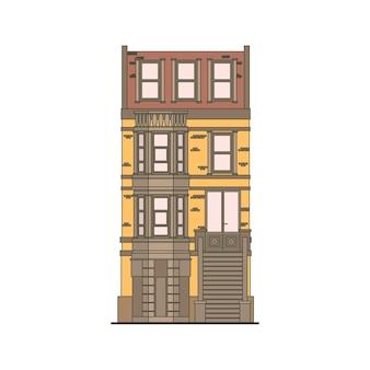 Gedetailleerd lineair stadshuis Gratis Vector