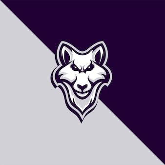 Gedetailleerd logo van de wolfmascotte