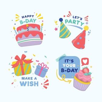Gedetailleerd pakket met verjaardagsbadges