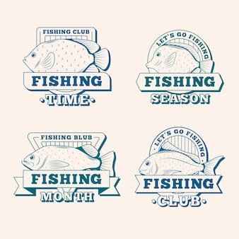 Gedetailleerd pakket met vintage vissersbadges
