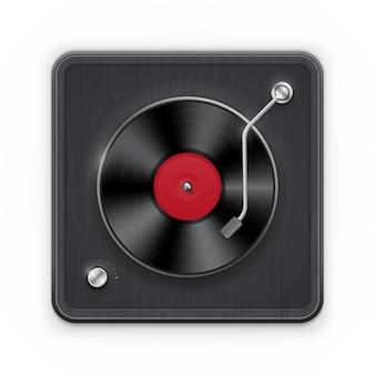 Gedetailleerd pictogram van de retro vinil platenspeler met donker geval