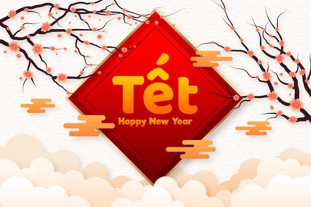 Gedetailleerd plat gelukkig vietnamees nieuwjaar 2021