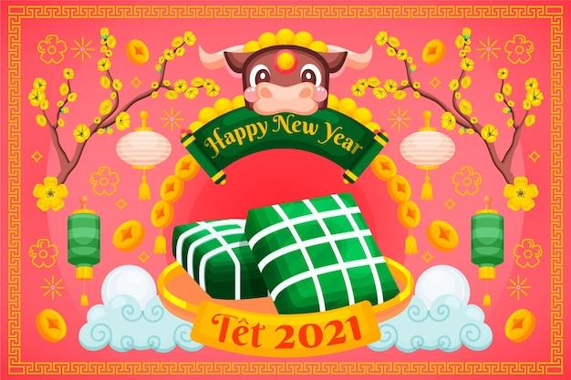 Gedetailleerd plat ontwerp gelukkig vietnamees nieuwe maanjaar