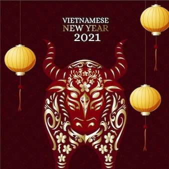 Gedetailleerd plat vietnamees nieuwjaar