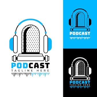 Gedetailleerd podcastlogo met verschillende gekleurde achtergronden