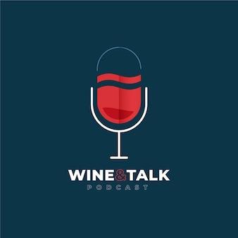 Gedetailleerd podcastlogo met wijnglas