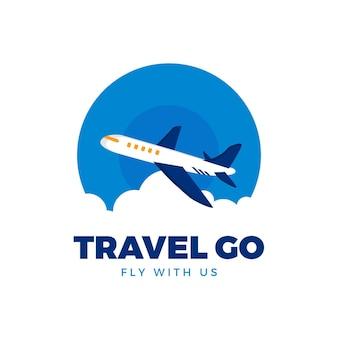 Gedetailleerd reislogo met vliegtuig