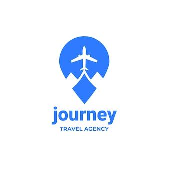 Gedetailleerd reislogo voor reisbureau
