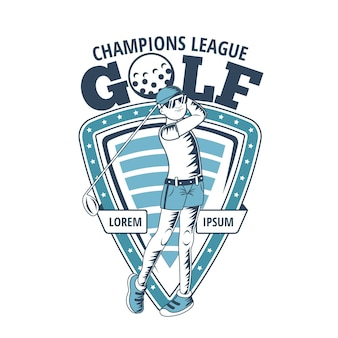 Gedetailleerd sjabloon vintage golf logo