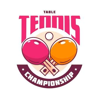 Gedetailleerd tafeltennis logo concept
