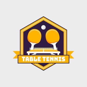 Gedetailleerd tafeltennislogo in stijl