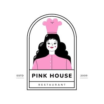 Gedetailleerd vrouw chef-kok logo