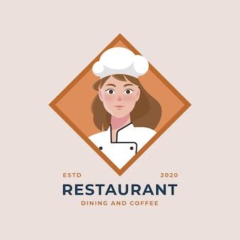 Gedetailleerd vrouwelijk chef-koklogo