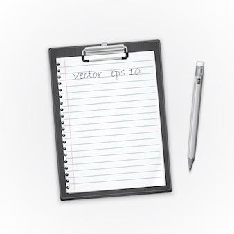 Gedetailleerd zwart klembord met document en potlood